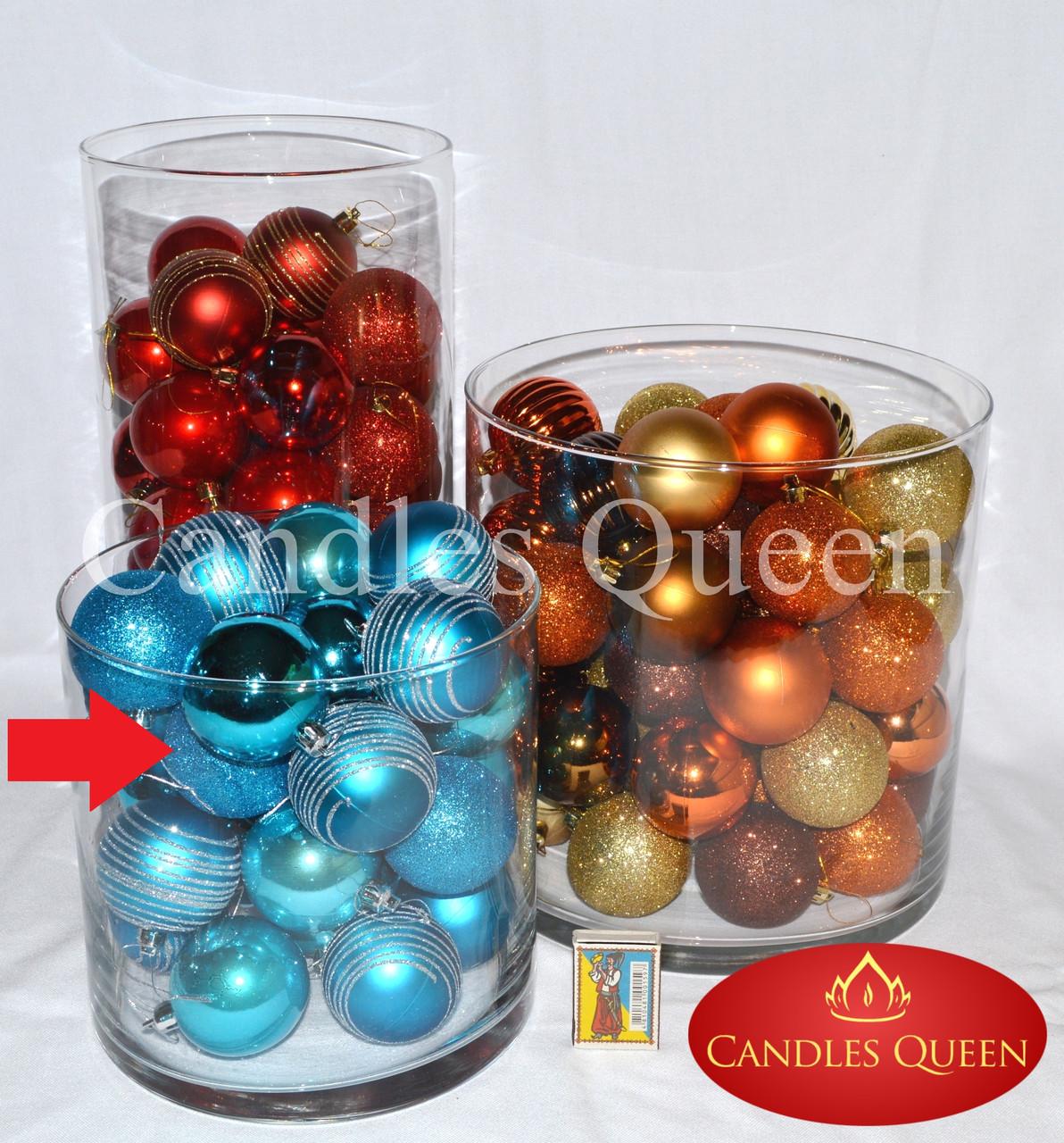 Ваза стеклянная цилиндр 200х200 мм широкая ваза подсвечник для насыпной свечи, флористики, декора