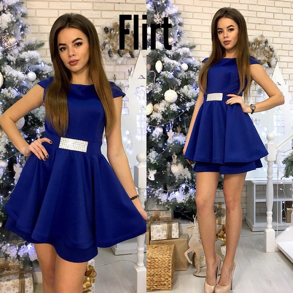 Платье с пышной двойной юбкой (5 цветов)