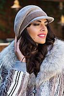Зимняя женская кепка Simona Kamea, шерстяная, бежевый цвет, фото 1