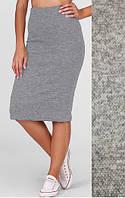 Стильная теплая юбка из ангоры серая 003