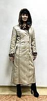 Зимняя длинная дубленка женская светлая, фото 1