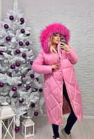 Зимняя куртка женская с капюшоном,из плащевки,белый мех искуственный,электрик и розовая