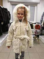 Мутоновая шуба для девочки (с поясом, капюшоном - отстегивается), цвет - светло-бежевый, фото 1