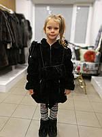 Детская мутоновая шуба, с поясом, капюшоном (отстегивается), цвет - черный