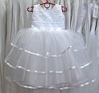 Стильное белое детское платье-маечка на 2-4 годика