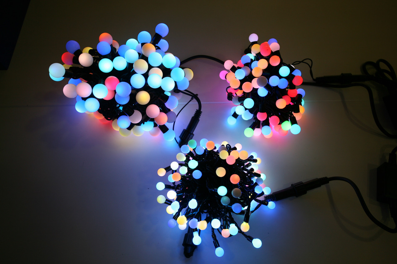 Новогодняя гирлянда на 100 лампочек , маленький шарик , разноцветная