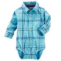 Клетчатая боди-рубашка с длинным рукавом OshKosh B'gosh для мальчика