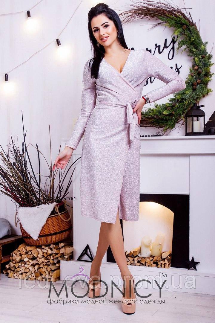 051f67ca588 Платье халат Нарядное люрексовое пудра -