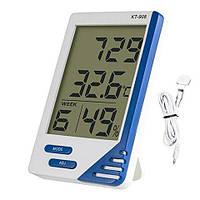 Термометр гигрометром КТ 908, часами, будильником, календарём и выносным датчиком