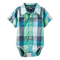 Клетчатая боди-рубашка с коротким рукавом OshKosh B'gosh для мальчика