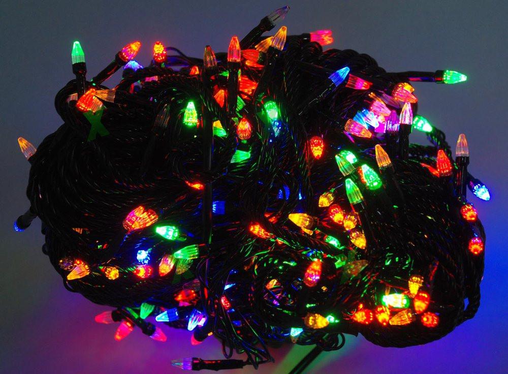 Новогодняя гирлянда ЕЛОЧКА ,100 светодиодных лампочек , разноцветная