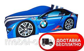 """Кровать машина серия """"Элит"""" модель BMW синий со спортивным матрасом"""