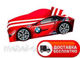 """Кровать машина серия """"Элит"""" модель BMW красный со спортивным матрасом"""