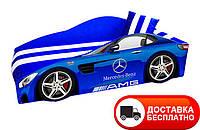 """Кровать машина серия """"Элит"""" модель Mercedes синий со спортивным матрасом, бесплатная доставка в Ваш город"""