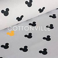✁ Отрезы хлопковой ткани Микки черные желтые на сером, фото 1