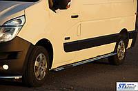 Nissan NV-400 (10+) пороги трубы з накладками   d60х2мм