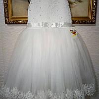 Белое фатиновое   платье для девочки