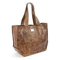 Кожаная крокодиловая сумка корзина коричневая Viladi, фото 1