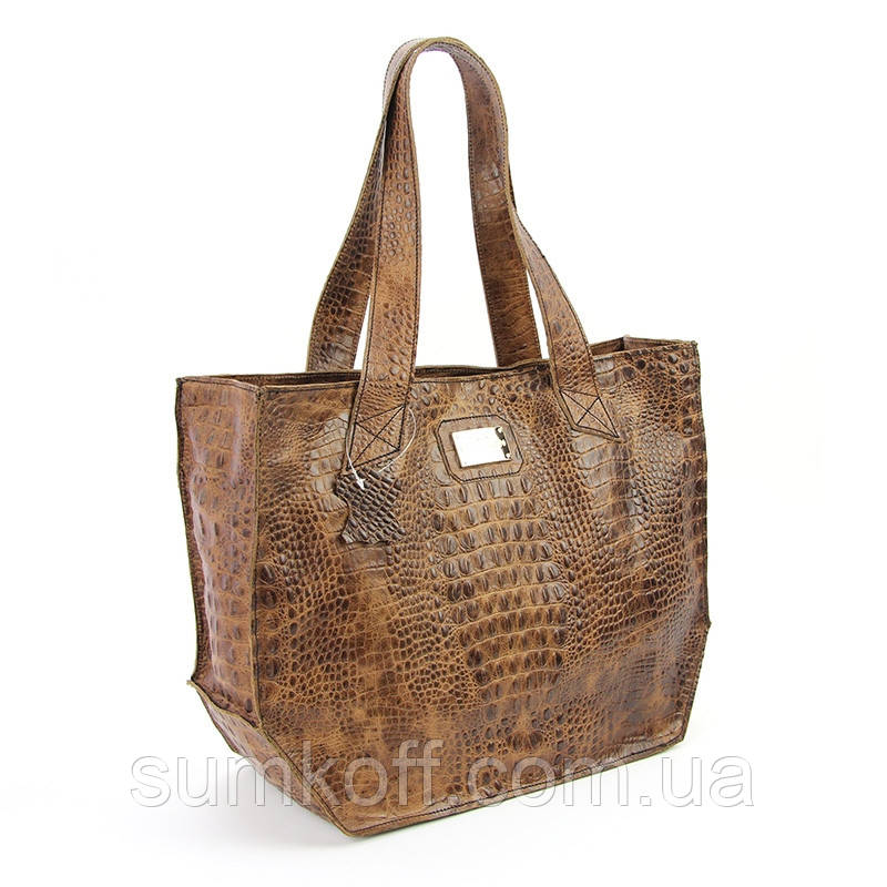 a13f4ab23fc7 Кожаная крокодиловая сумка корзина коричневая Viladi - Интернет магазин  сумок SUMKOFF - женские и мужские сумки