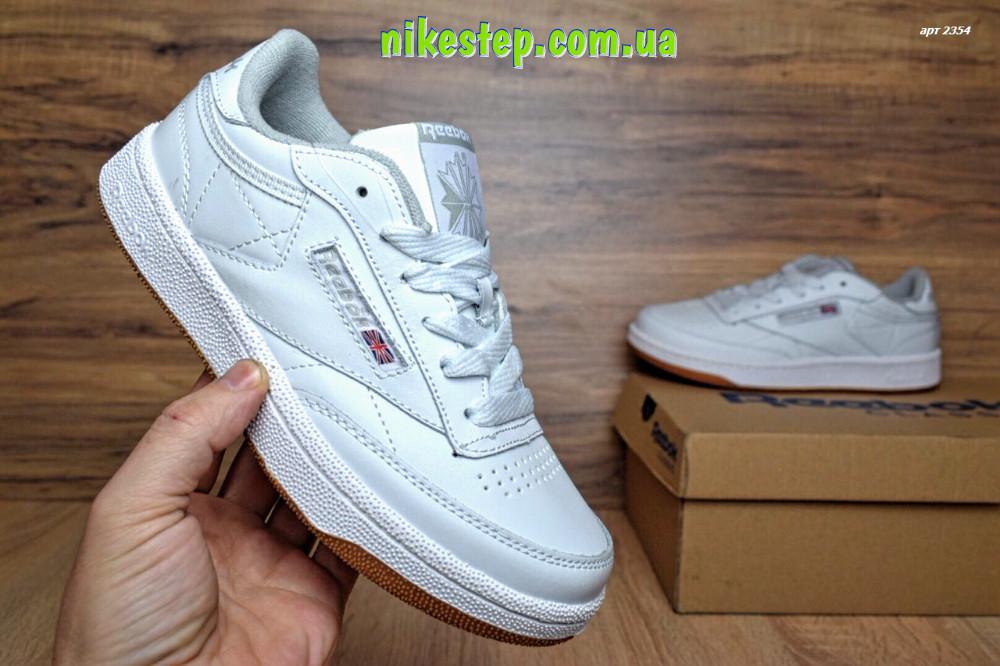 Подростковые+женские белые кроссовки REEBOK кожаные реплика + живые фото 03b2b7dc58e