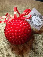 Новогодний шар ручной работы красный 9