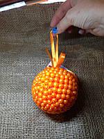 Новогодний шар ручной работы оранж 9