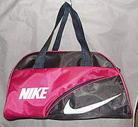 Женская спортивная сумка 013071 серая с розовым ремень на плечо размеры 36см х 24см х 16см