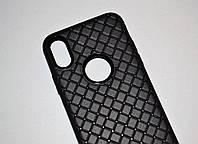 Чехол для iPhone 10 X силиконовый Soft Touch черный плетение