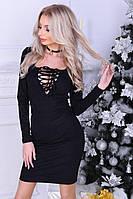Женское замшевое платье-футляр со шнуровкой
