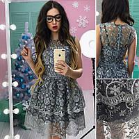 Платье красивое кружевное c пышной юбкой мини SMs2041