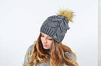 """Женская шапка с помпоном """"Сабрина"""", фото 1"""