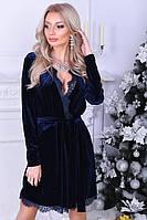 Вечернее барханное платье-халат мини с поясом
