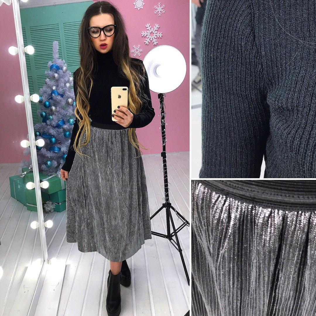 8b678fa5577 Костюм женский стильный теплый гольф вязка и юбка плиссе миди разные цвета  Ks619