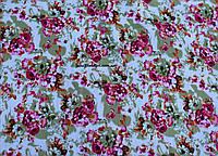 Коттон принт цветки (фон белый)