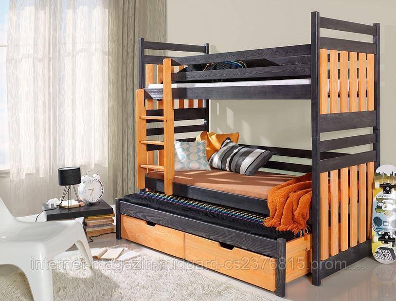 """Двухъярусная трехспальная кровать семейного типа """"Елена """" трансформер массив"""