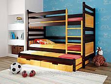 """Двухъярусная трехспальная кровать семейного типа """"Елена """" трансформер массив, фото 2"""