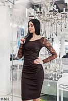 Вечернее короткое платье (коричневый, коралл)