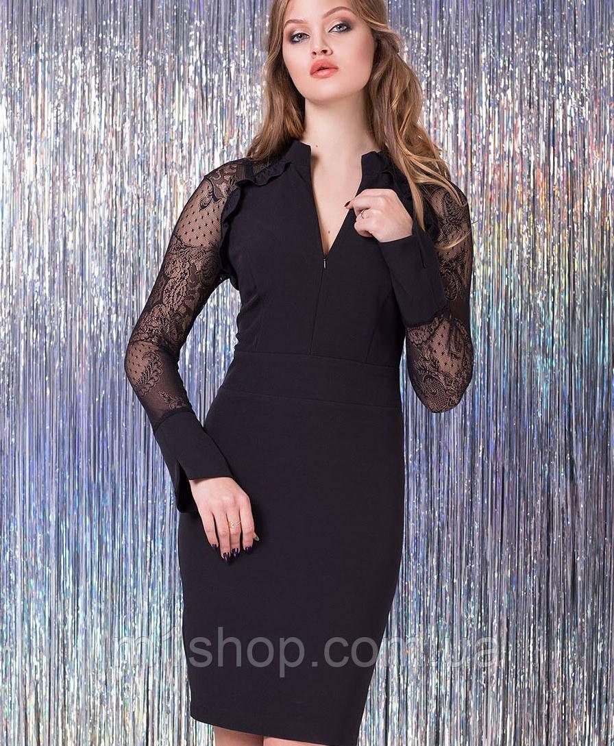 Женское черное платье с рукавами из сетки (Мелания lzn)