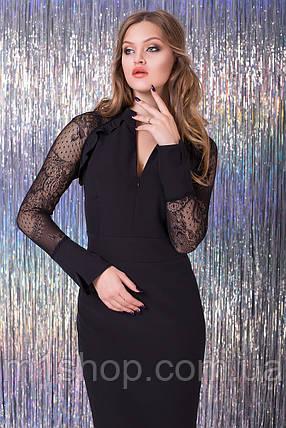 Женское черное платье с рукавами из сетки (Мелания lzn), фото 2