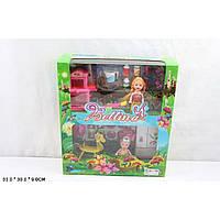 Кукла маленькая 66789 (36шт/2) 2 куклы в наборе,мебель д/кухни,посудка,конь-качалка…,в кор.33*30*9см