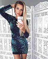 Женское яркое платье с паетками