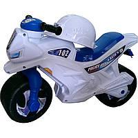 """Мотоцикл двухколёсный, арт. 501_Б, белый """"Полиция""""С КАСКОЙ"""