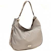 Нейлоновая сумка хобо со вставками под змеиную кожу CM3113 Серый