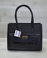 Каркасная женская сумка с  накладным карманом лаковый черный 31005