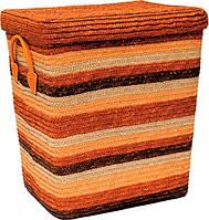 Корзина плетенная для белья с крышкой оранжевая S