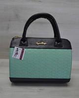 Молодежная женская сумка Плетенка ментол с черным гладким 52104