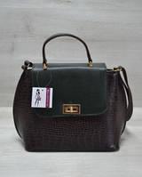 Молодежная женская сумка-клатч коричневый крокодил с зеленым гладким 61411