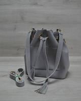 Молодежная сумка из эко-кожи  Люверс серого цвета 23101