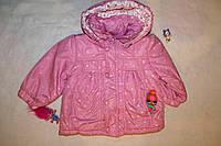 Куртка для девочки ростом 74 см демисезонная розовая в сердечках
