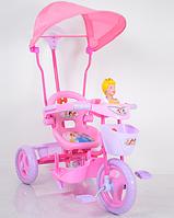 Велосипед трехколесный детский OPT-WS-814 Princess (регулируется ручка,корзинка спереди и сзади,защитный бампер для малыша,музыкальная панель)